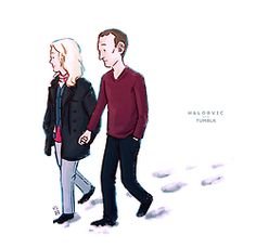 Rose Tyler and Doctor Nine by http://halorvic.tumblr.com