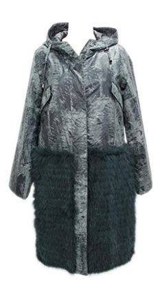 88616f436 58684 New Teal Fabric Fox Rabbit Fur Parka Hood Stroller Coat Jacket M  Medium