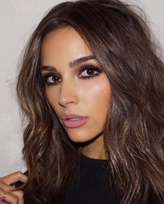 """My off duty hair is air-dried, but I'll bend the ends with a curler or an iron. I try to keep it as minimal as possible, but I'll use something. It's like, I'm not a makeup at the gym person, but I'll always use a hair tool."" - Olivia Culpo on her hair a Medium Hair Cuts, Medium Hair Styles, Medium Dark Hair, Trendy Hairstyles, Wedding Hairstyles, Pink Hairstyles, Gorgeous Hairstyles, Redhead Makeup, Brunette Makeup"