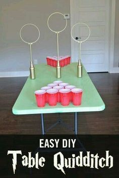 Table Quidditch can be played as Quidditch Beer pong or. Table Quidditch can be played as Quidditch Beer pong or… Easy DIY Quidditch Game. Table Quidditch can be played… - Baby Harry Potter, Harry Potter Baby Shower, Harry Potter Enfants, Harry Potter Motto Party, Harry Potter Fiesta, Harry Potter Thema, Harry Potter Halloween Party, Theme Harry Potter, Harry Potter Christmas