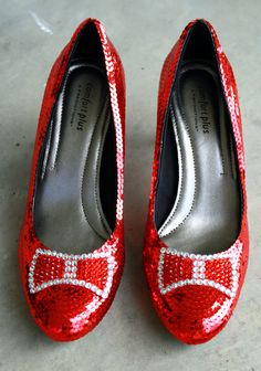 Sequin and Rhinestone Crystal Dorothy Ruby Red Slippers PERFECT for Wizard of Oz Weddings Harry Winston Inspired. $120.00, via Etsy.