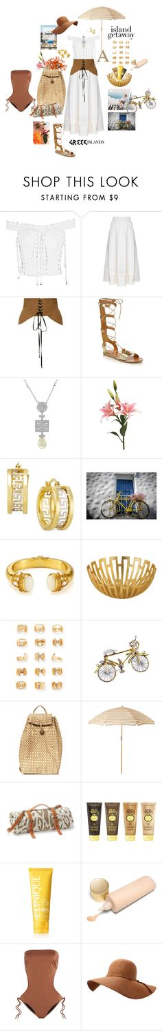 """Greek islands"" by mbarbosa ❤ liked on Polyvore featuring Dolce&Gabbana, FLOW the Label, Acler, Ancient Greek Sandals, Bling Jewelry, Julie Vos, Chloé, Van Cleef & Arpels, Maslin & Co. and Sun Bum"