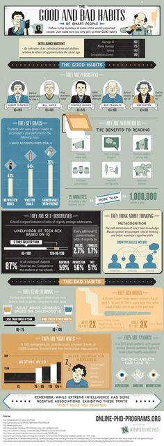 #Infographic The Habits of the World's Smartest People  | Buenos y malos hábitos de las personas más inteligentes en la historia de la humanidad #infografia