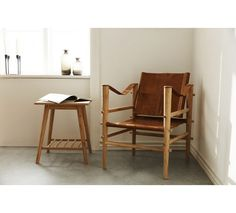 Cinas Noble Safari stol - Brun læder - Stel i bambus