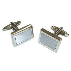 Silver-plated Rectangular #SBS cufflinks - £22