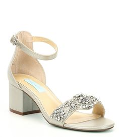 e3cf52b0c51 Blue by Betsey Johnson Mel Bejeweled Satin Block Heel Dress Sandals