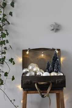 We love this idea: a holiday vignette built inside a vintage suitcase — that you can pack up and store away at season's end.