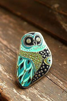 Mystic Owl Enamel Pin  Green or Pink
