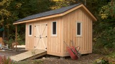 A 8' x 12' Garden & Storage shed with an 8' overhang for firewood storage. Clad with Eastern white pine board and batten. The Shed has a continuous ridge beam (3 2x8's site built) that cantlevers...