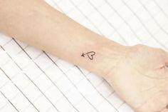mini tattoo wrist airplane heart #ad