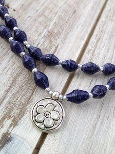 Flower power Navy Ugandan paper bead necklace by FunkyFishJewelry, $10.00