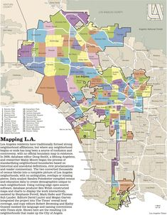 """ This map shows the many neighborhoods of the sprawling (and oddly shaped) city of Los Angeles "" California Dreamin', Los Angeles California, California History, Echo Park, Map Los Angeles, Santa Monica, Los Angeles Neighborhoods, I Love La, Remote Sensing"