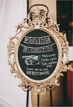 Vintage signs leading to a chalkboard photo booth will grab guests attention if the photo booth is not in the main reception area. #photobooth #wedding #mwri