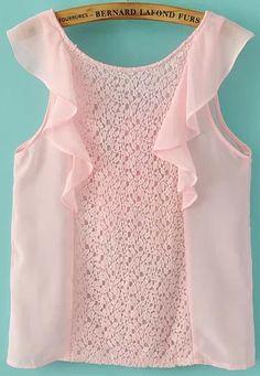 Pink Sleeveless Contrast Lace Ruffle Chiffon Blouse US$25.11