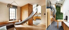 Check out this Ki Design Studio& contemporary apartment in Kharkiv that has a slide connecting the first and the second floor. Contemporary Apartment, Design Studio, Second Floor, Ukraine, Two By Two, Stairs, Flooring, Check, Furniture