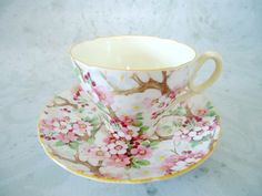 Shelley Cherry Blossom Chintz Teacup and Saucer.