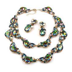Timeless Chunky Bib Set ~ Vitral Green. Bib chunky rhinestone set - necklace and earrings, dominant large pear rhinestones in emerald green. $129.90