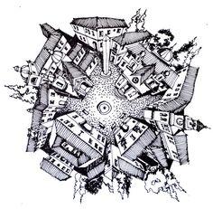 Ilustrações que desafiam a realidade arquitetônica,Plaza Menor, Vieja Aldea. Image Courtesy of Juan Luis López