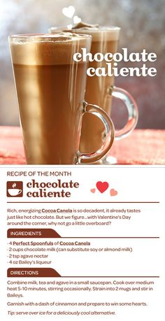 Tea Recipe: Chocolate Caliente - Rich and energizing, Cocoa Canela already tastes like hot chocolate. But we figure. with Valentine's Day around the corner, why not go a little overboard? Davids Tea, Dessert Drinks, Yummy Drinks, Desserts, Spirit Drink, Food And Thought, Fancy Drinks, Happy Foods, Holiday Drinks