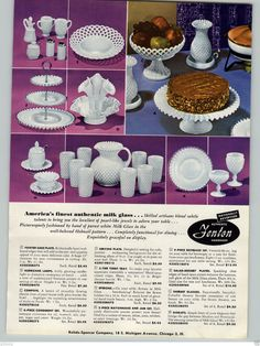 1955 PAPER AD Fenton Handmade Milk Glass Hobnail Pattern Vase Cake Plate S&P in Collectibles, Advertising, Other Collectible Ads | eBay
