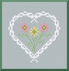 Sweet and simple heart cross stitch pattern.