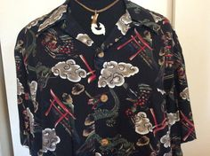 Japanese Hawaiian Shirt  XL by AnTikisBoutique on Etsy