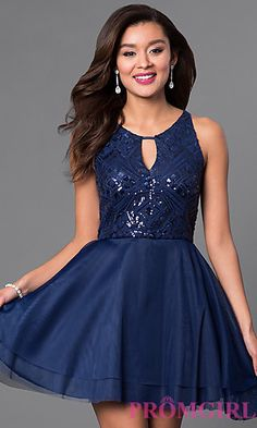 Short Sequin-Bodice Navy Blue Homecoming Dress at PromGirl.com