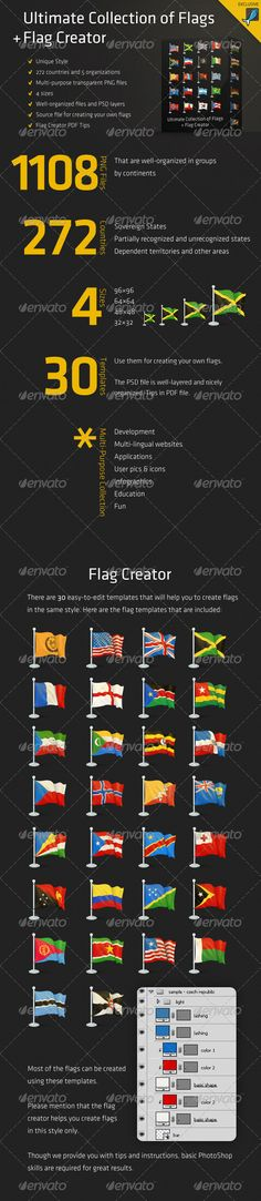 Ultimate Collection of Flags + Flag Creator #GraphicRiver Ultimate Collection of Flags + Flag Creator consists of 1108 transparent PNG files and a PSD source file for creating your own flags in the same style. We included all countries: sovereign states, partially recognized and unrecognized states, dependent territories and other areas. Flag creator will help you create new flags and variations of the existing ones. There are some instructions and tips attached. Update, 16 September 2013…