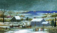 "Jan L. Munro ""Nantucket Sleigh Ride"" mixed media on Masonite 6 in. x 10 in."