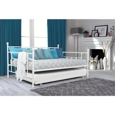 dhp white manila full size metal daybed and twin size trundle - Full Size Daybeds