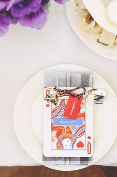 Extra large playing cards as table setting