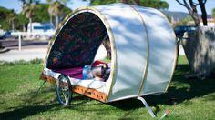 This DIY bike camp trailer is your new winter project. Bike Wagon, Bike Shed, Trailer Tent, Bike Trailers, Camping Trailers, Bike Shelter, Survival Shelter, Bike Motor, Bike Cart