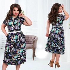 2016 Summer New Fashion Print Dress O-Neck Mid-Calf Casual Style Plus Size For Woman In High Quality Without Belt Fashion Prints, New Fashion, Fashion Outfits, Womens Fashion, Style Fashion, Fashion Advice, Plus Size Women, Plus Size Outfits, Casual