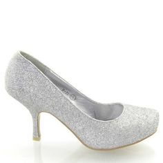 Essex Glam - Damen Glitzer Mittelhoher Absatz Braut Hochzeit Ball Party Schuhe Größe 36 - 41 - Synthetik, Silber Glitzer, 4 UK / 37 EU - http://on-line-kaufen.de/fashion-5/37-eu-4-uk-essex-glam-damen-glitzer-mittelhoher-36