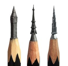 Lead Finger: Incredible Miniatures Carved Out of Pencil Tips - by miniaturist Salivat Fidai. The Russian artist uses an X-acto knife to carefully scrape away minuscule shavings of graphite, revealing everything from realistic dinosaur heads to the Eiffel Tower.