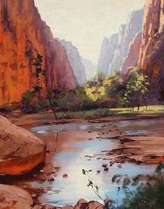 Gercken Grand Canyon Oil Painting Commissioned River Arizona Desert Landscape Home Decoration Living Room Wall Pictures(China (Mainland)) Mountain Landscape, Landscape Art, Landscape Paintings, Desert Landscape, Zion Canyon, Canyon River, Grand Canyon, River Painting, My Art Studio