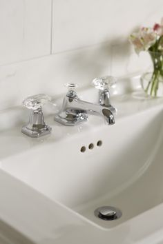 The For Loft Basin Faucet Set with Crystal Handles from #KALLISTA | http://www.kallista.com/onlinecatalog/detail.kls?productNumber=P23002-CC&collectionSubsection=&collection=&designer=&collectionFlag=&section=Two-Handle+Basin+Sets