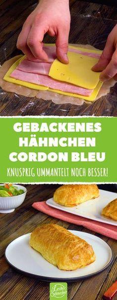 Und plötzlich ist das Cordon Bleu noch besser! Der Blätterteig macht den Unterschied. #leckerschmecker #kochen #backen #rezept #fleisch #geflügel #hahn #hähnchen #cordon bleu #käse #schinken #kochschinken #blätterteig #essen #genuss #knusprig