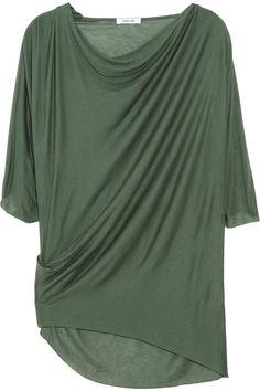 HELMUT LANG  Asymmetric draped jersey top  $185