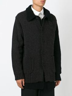 layered chunky knit cardigan