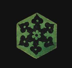 Three Ottoman green and black hexagonal tiles, Syria or Turkey, 16th Century | Lot | Sotheby's