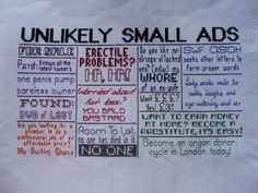 Unlikely Small Ads/Classifieds  Mock the by hardcorestitchcorps, $4.50