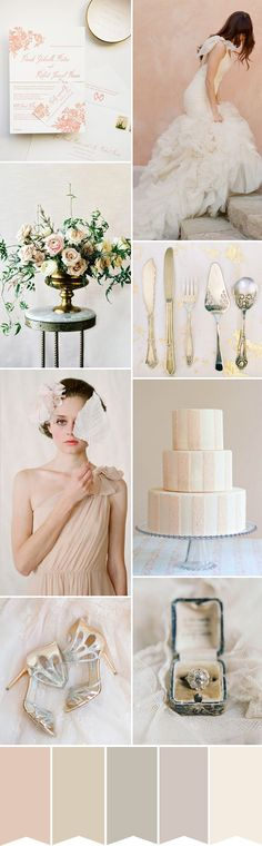 A nude and blush wedding color palette inspired by beautiful fine art wedding photography...