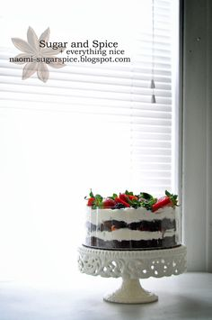 Chocolate cake with cheesecake filling, assorted fresh fruit, and real whipped cream.