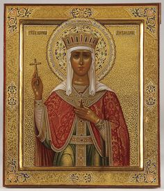 A VERY FINE RUSSIAN ICON OF THE EMPRESS SAINT ALEXANDRA, MOSCOW, CIRCA 1900.    Price realized $17,400