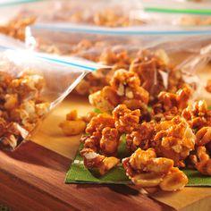 Butterscotch Popcorn Crunchies (Easy; 27 servings) #popcorn #butterscotch