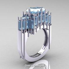 Gothic 14K White Gold 2.62 Ct Emerald Cut 4.0 Ct Baguette Cut Aquamarine Cathedral Ring R424-14KWGAQ | ArtMastersJewelry