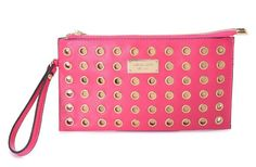 "Michael Kors Large Colgate Grommet Pouch Pink  Products Description * Green leather with allover grommet detail. * Top zip. * Wrist strap, 6"" drop. * Heritage logo plate on top front. * Inside, monogram satin lining and card slots. * 5 1/2""H x 10""W x 1/4""D."