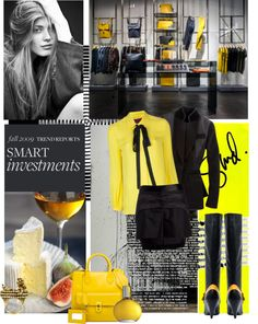 """Yellow & Black Work Wear"" by lacas ❤ liked on Polyvore"