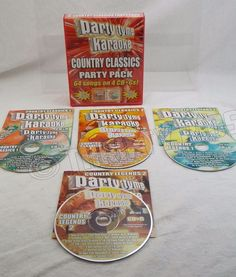 Party Tyme Time Karaoke Country Classics Party Pack Box With Lyric Sheets 4 CD-G #Karaoke